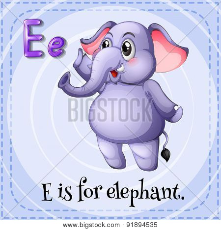 Flashcard letter E is for elephant