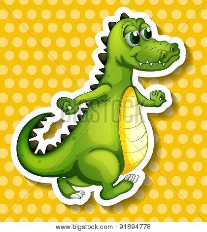 Closeup crocodile standing on yellow polka-dot background