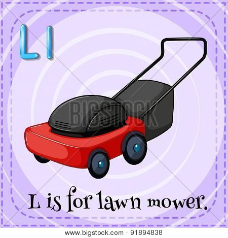 Flashcard letter L is for lawnmower