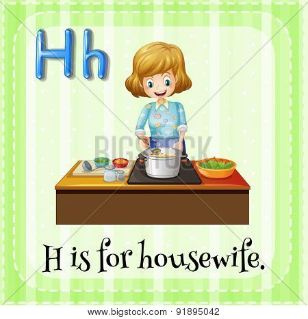 Flashcard letter H is for housewife