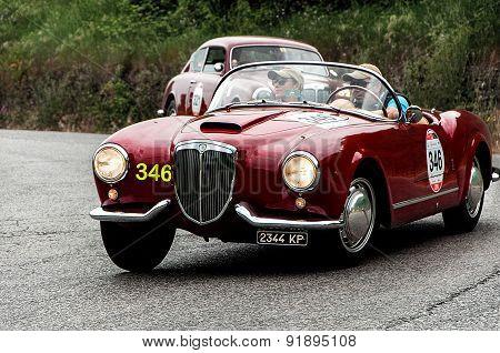 old car LANCIA Aurelia B24 spider America Pinin Farina 1955 mille miglia 2015