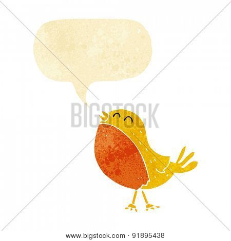 cartoon singing bird with speech bubble
