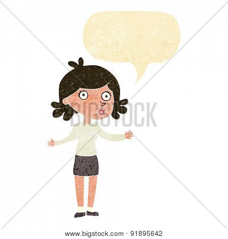 cartoon confused woman with speech bubble