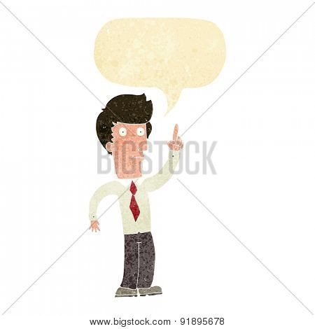 cartoon friendly man with idea with speech bubble