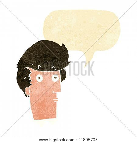 cartoon surprised expression with speech bubble
