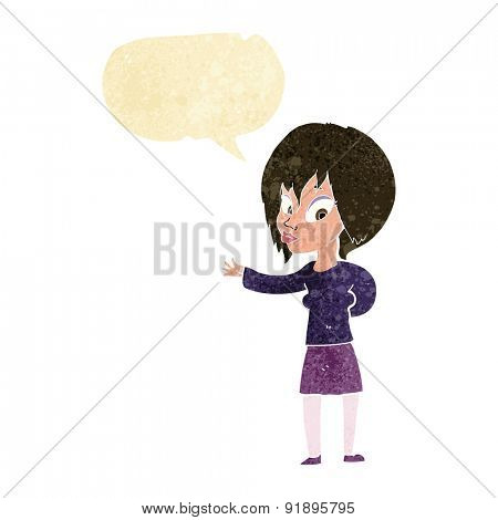 cartoon woman making welcome gesture with speech bubble