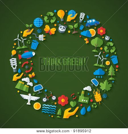 Ecology flat icons arranged in circle frame.