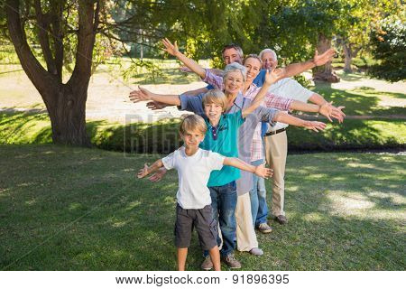 Happy family with arms outstretched in the park on a sunny day