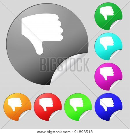 Dislike, Thumb Down, Hand Finger Down Icon Sign. Set Of Eight Multi-colored Round Buttons, Stickers.