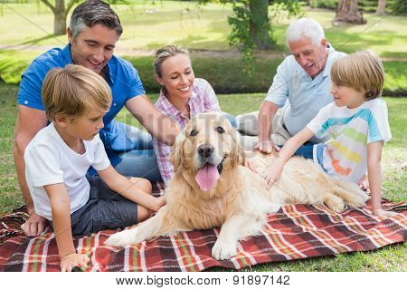 Happy family in the park with their dog on a sunny day