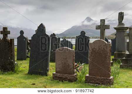 Graveyard Ballachulish With Mountains