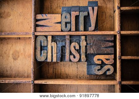 Merry Christmas Concept Wooden Letterpress Theme