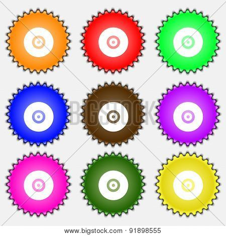 Cd Or Dvd  Icon Sign. A Set Of Nine Different Colored Labels. Vector