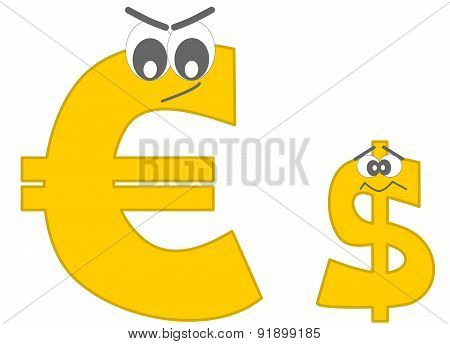 strong euro and the afraid dollar funny cartoon