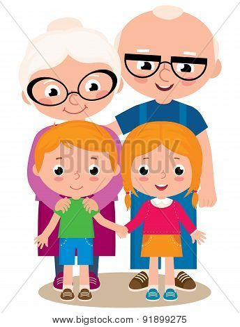Vector Illustration Of Grandparents And Their Grandchildren