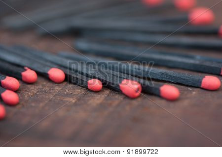 Black And Red Matches conceptual background