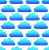 pic of cumulus-clouds  - Cloud pattern with blue round cumulus clouds over white - JPG