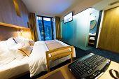 image of comfort  - Interior of modern comfortable hotel room - JPG