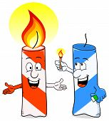 image of ignite  - vector illustration of a cartoon of a birthday candle that ignites another candle - JPG