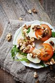 picture of bagel  - Homemade bagel filled with goat cheese and tomato - JPG