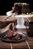 image of pound cake  - Chocolate bundt cake with pistachios - JPG