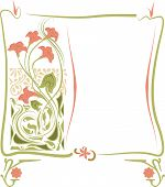 stock photo of art nouveau  - Vector frame in art Nouveau style with pink flowers - JPG
