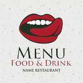 stock photo of licking  - menu for the restaurant with a picture of the human mouth to lick - JPG