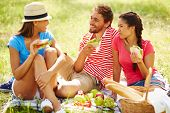 foto of environment-friendly  - Happy friends having picnic in natural environment - JPG