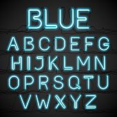 foto of glowing  - Blue neon glow alphabet with wires - JPG