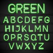 pic of glow  - Green neon glow alphabet with wires - JPG