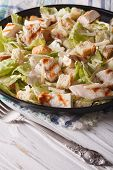 picture of caesar salad  - Caesar salad with grilled chicken breast close - JPG