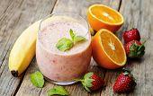image of strawberry plant  - Fresh smoothie with strawberries banana and orange - JPG