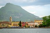 stock photo of lagos  - Lago di Garda Riva del Garda, lake and mountains ** Note: Visible grain at 100%, best at smaller sizes - JPG