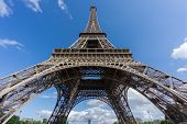 image of bottom  - Ultra wide angle of Eiffel Tower over blue sky in Paris - JPG