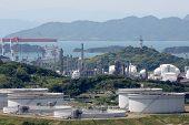 pic of fuel tanker  - Industrial fuel storage tanks at oil refinery - JPG