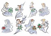 picture of marriage ceremony  - Sketches of brides in blue bridal dress holding bouquet of flowers for wedding and marriage ceremony design - JPG