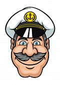 stock photo of moustache  - Ship captain or sailor in white peaked cap with gray hair and lush moustache in cartoon style - JPG