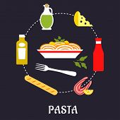 foto of flat-bread  - Italian pasta food flat design with traditional italian spaghetti with sauce and basil encircled by bottles of olive oil - JPG
