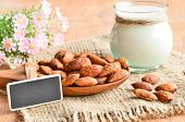 stock photo of soybean milk  - Almond milk in glass with almonds and blank back wooden tag on sack background - JPG