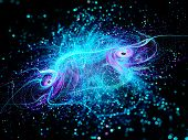picture of glow-worm  - Glowing blue curves in space with particles computer generated abstract background - JPG
