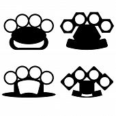 pic of brass knuckles  - Brass Knuckle Silhouettes Isolated on White Background - JPG