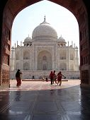 stock photo of mumtaj  - the look through the door of taj mahal - JPG