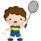 picture of badminton player  - a badminton player with his racket and shuttleock - JPG