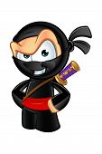 picture of ninja  - An illustration of a sneaky looking cartoon Ninja character - JPG