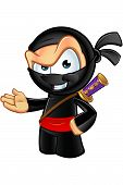 stock photo of ninja  - An illustration of a sneaky looking cartoon Ninja character - JPG