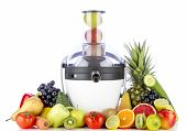 foto of juicer  - Fruits and vegetables for juice near juicer on white background - JPG