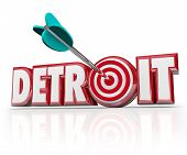 foto of bull  - Detroit word in red 3d letters and an arrow in a target or bulls - JPG