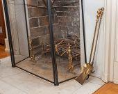 foto of bundle  - Vintage fireplace has bundles of wood ready to burn - JPG