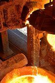 stock photo of blast-furnace  - Liquid metal from blast furnace in a plant - JPG