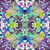 picture of vivid  - Digital collage technique vivid floral collage motif seamless pattern in multicolored tones - JPG